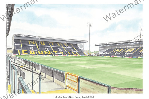 Notts County FC - Inside Meadow Lane,, Limited Edition Print A4 / A3