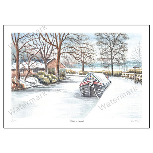 Wintry Canal, Limited Edition Print A4 or A3
