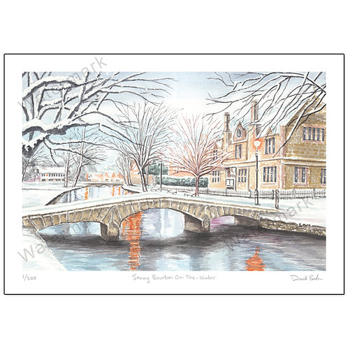 Snowy Bourton-on the-Water - Limited Edition,  Print A4 or A3