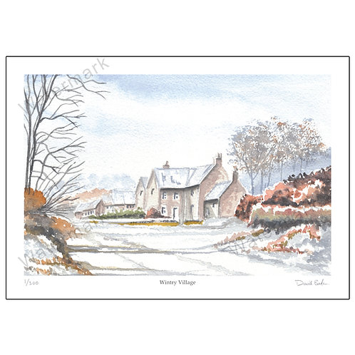Wintry Village, Print A4 or A3