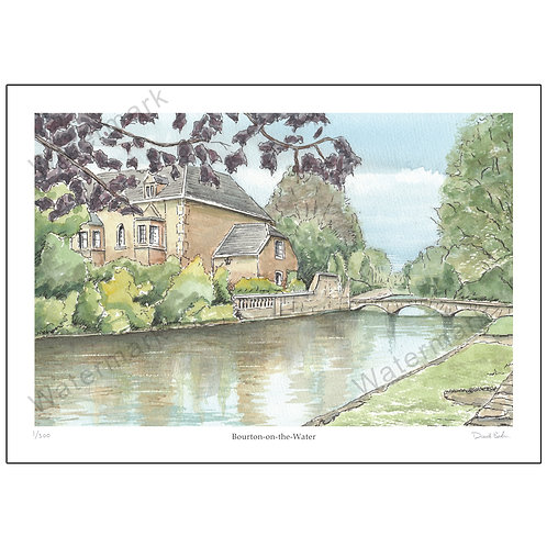 Bourton-on-the-Water, Pen and Wash, Limited Edition Print A4 or A3