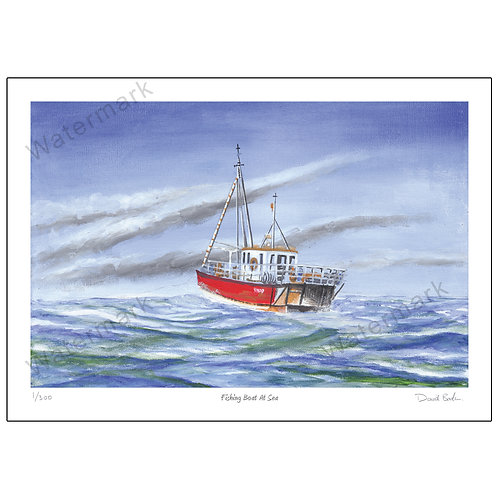 Fishing Boat At Sea, Limited Edition Print A4 or A3