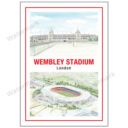 Old Wembley Stadium Two Views, Limited Edition Print A4 / A3