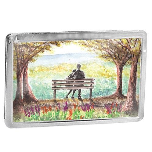 Couple On Park Bench - Fridge Magnet