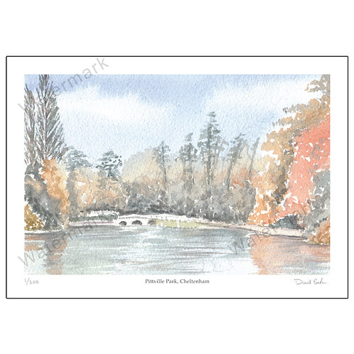 Pittville Park In Autumn, Cheltenham,  Limited Edition Print A4