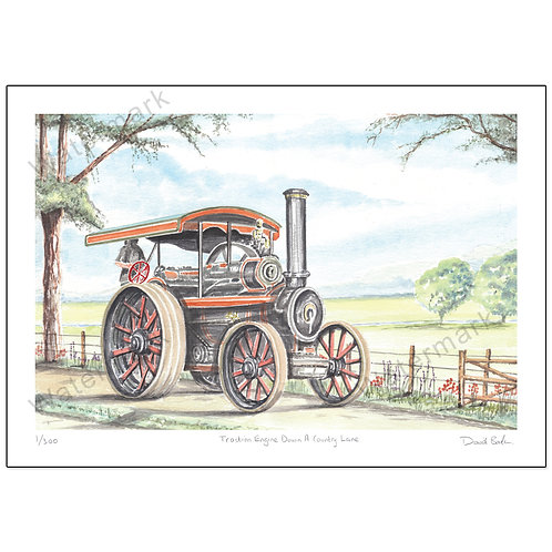 Traction Engine, Down A Country Lane,  Print A4 or A3