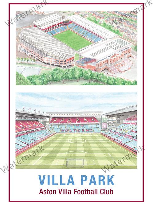 Aston Villa - Villa Park Two Views, Print A4 and A3