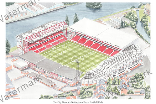 Nottingham Forest - City Ground, Print A4 or A3
