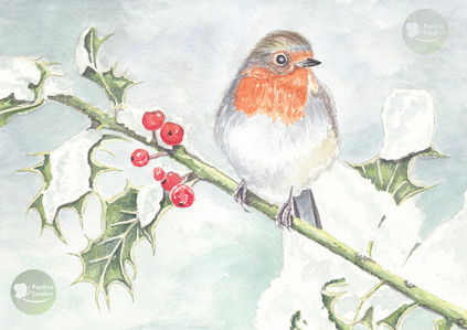 Robin On A Holly Branch