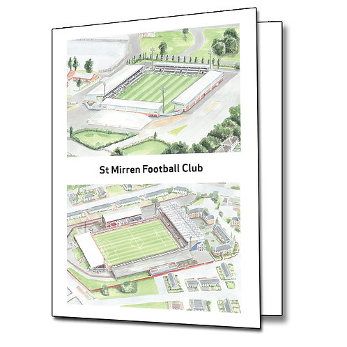 St Mirren FC - Two Stadiums  - Greetings Card Portrait, A5/A6