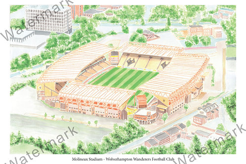 Wolverhampton Wanderers - Molineux Stadium, Limited Edition Print A4 / A3