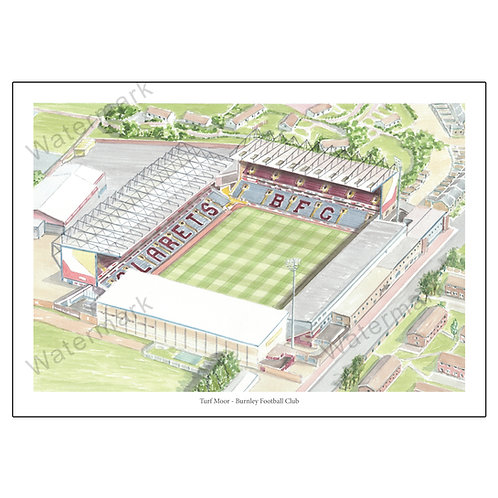 Burnley Football Club - Turf Moor, Limited Edition Print A4 / A3