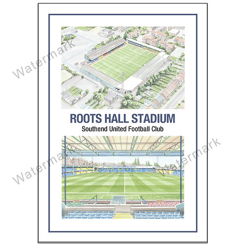 Southend United FC, Roots Hall Two Views, Limited Edition Print A4 / A3