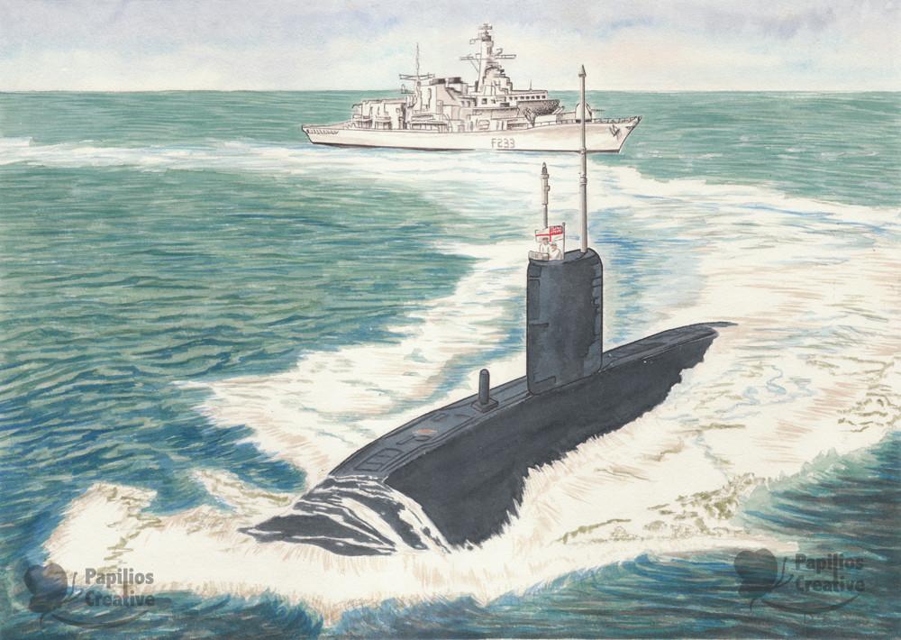 HMS Marlborough and Submarine