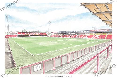 Brentford F.C - Inside Griffin Park, Print A4 or A3