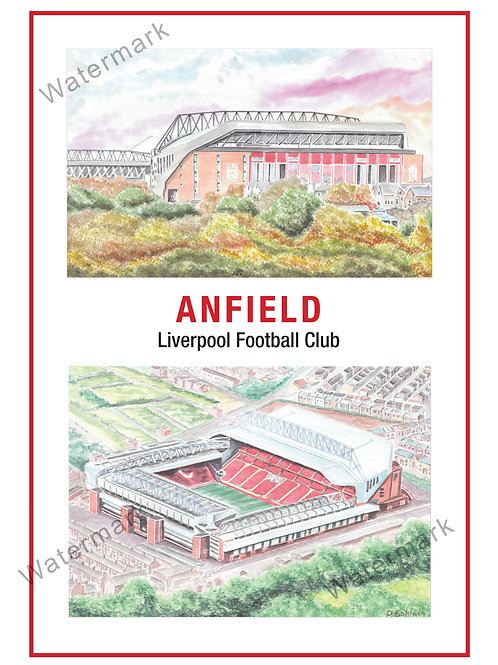 Liverpool - Anfield 2 views, Print A4 or A3