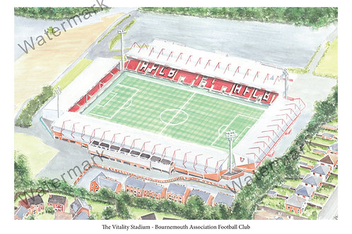 Bournemouth - The Vitality Stadium, Limited Edition Print A4 / A3