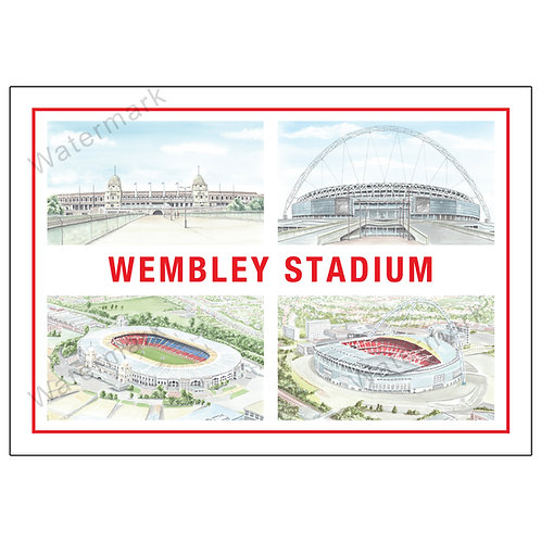 Old and New Wembley Stadium - Four Views, Limited Edition Print A4 / A3