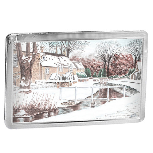 Cotswold Snow - Lower Slaughter In Winter - Fridge Magnet