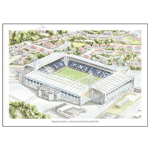 Preston North End Football Club - Deepdale Stadium, Print A4 or A3