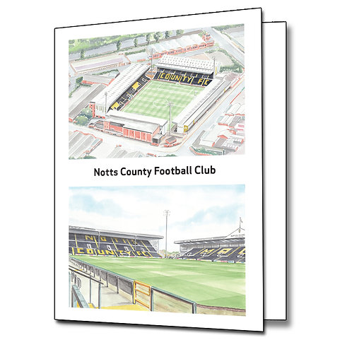 Notts County Football Club - 2 View - Greetings Card Portrait, A5/A6