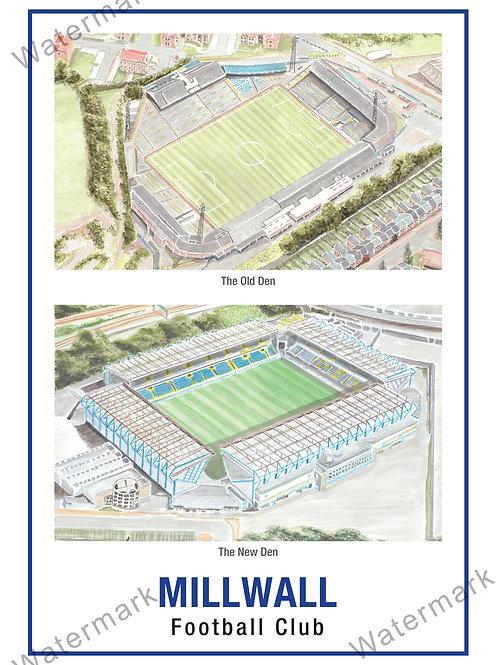 Millwall FC - 2 Stadiums, Print A4 or A3