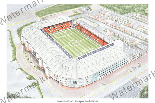 Blackpool Football Club - Bloomfield Road, Limited Edition Print A4 / A3