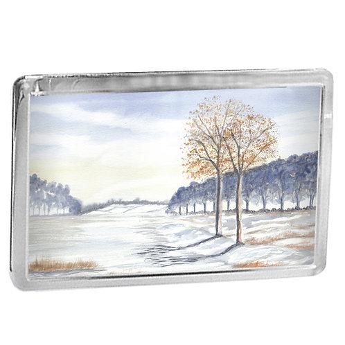 Simple Snow Scene Study 1 - Fridge Magnet