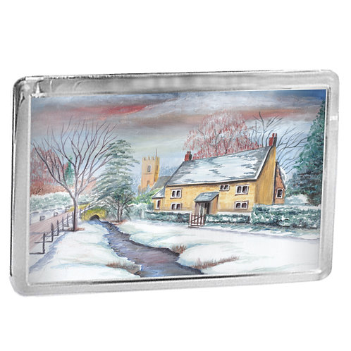 Wintry Cottage - Fridge Magnet