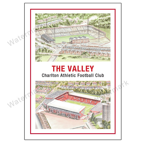 Charlton Athletic FC, The Valley Two Views, Print A4 or A3