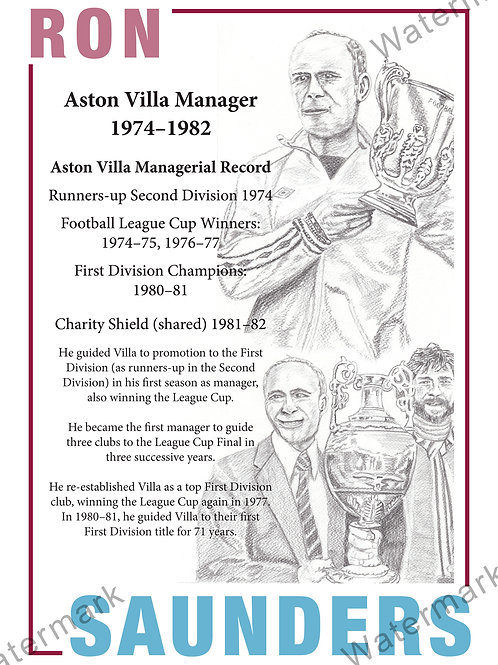 Aston Villa - Ron Saunders Statitics, Print A4 or A3