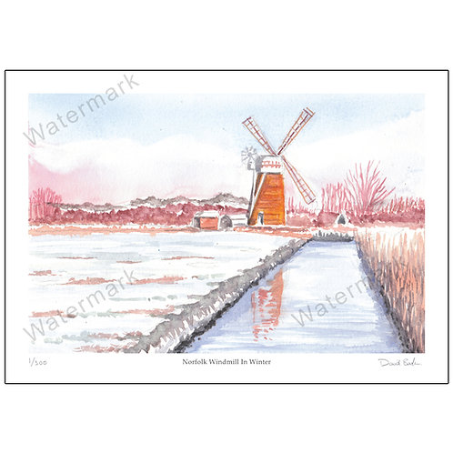 Norfolk Windmill In Winter, Print A4