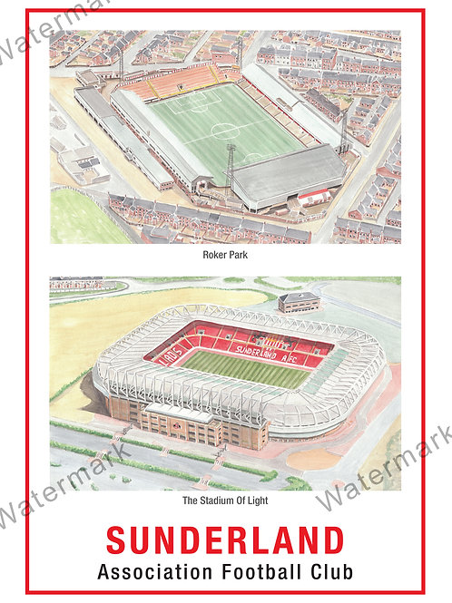 Sunderland AFC - Two Stadium, Print A4 or A3