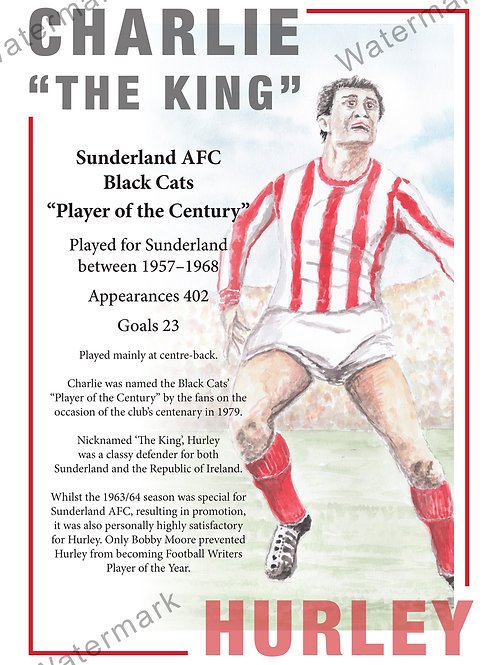 Sunderland AFC - Charlie Hurley Poster, Print A4 or A3