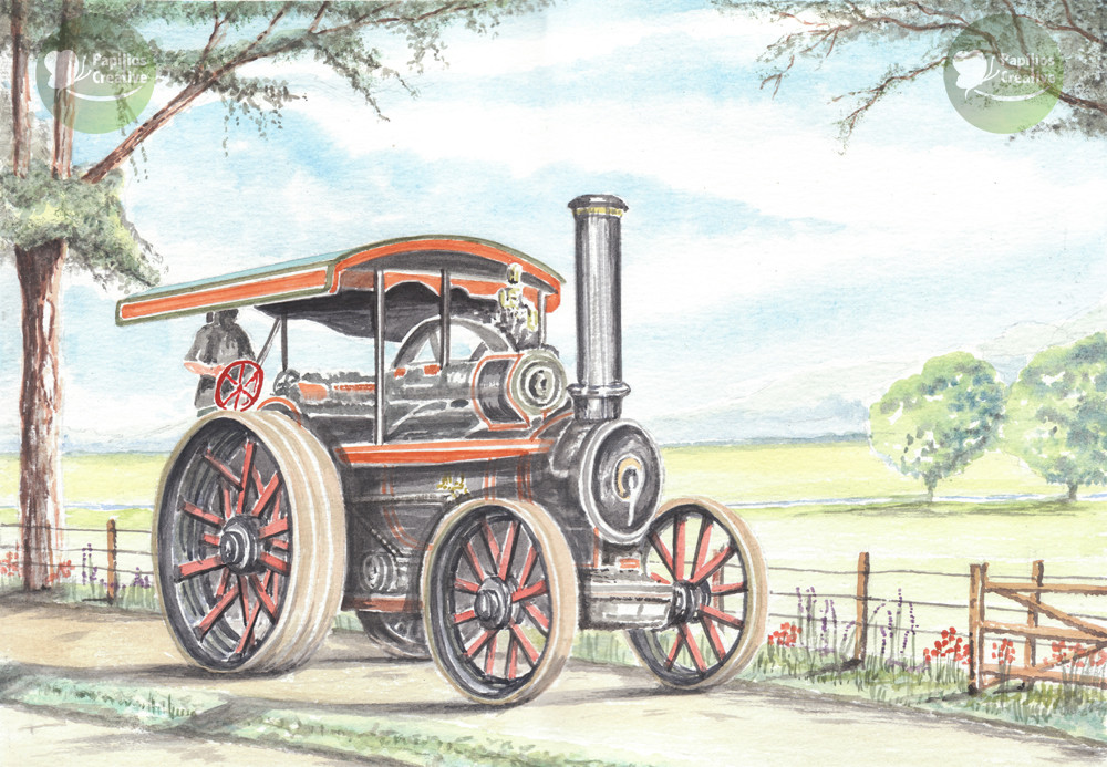 Traction Engine Down A Country Lane