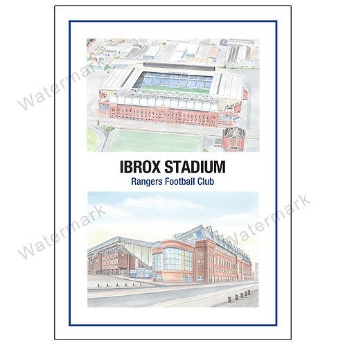 Rangers FC, Ibrox Stadium Two Views, Print A4 or A3