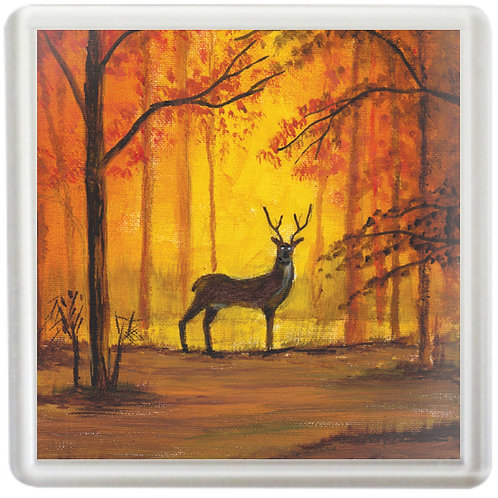 Deer In Autumn Forest - Coaster