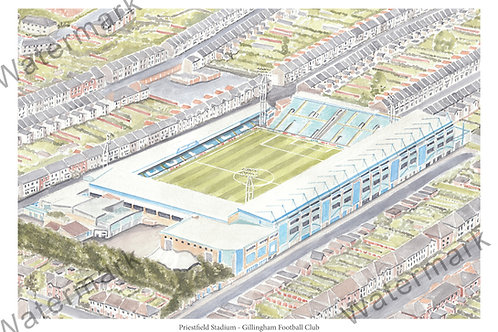 Gillingham Football Club - Priestfield Stadium, Print A4 or A3