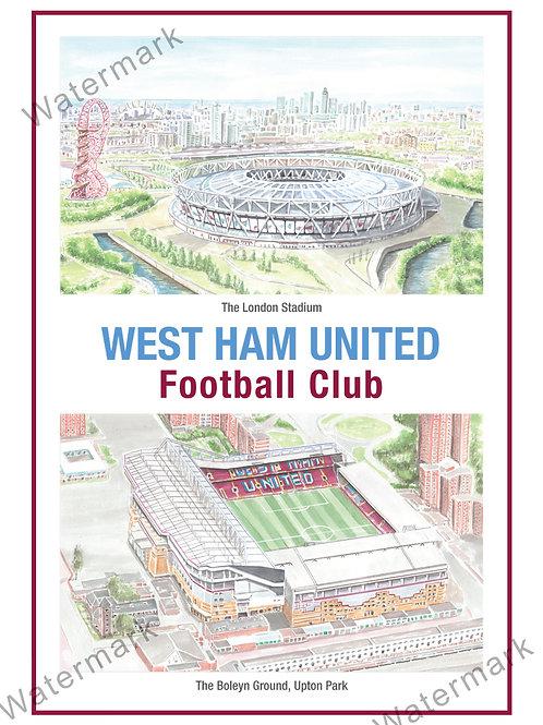 West Ham United - Stadiums, Print A4 or A3