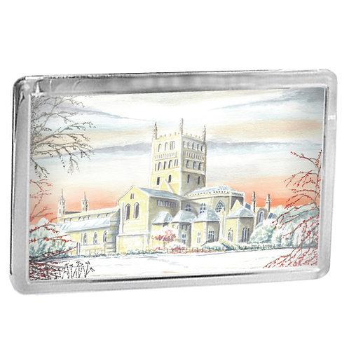 Tewkesbury Abbey In Winter - Fridge Magnet