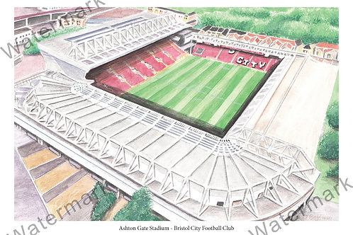 Bristol City FC - Ashton Gate Stadium, Print A4 or A3