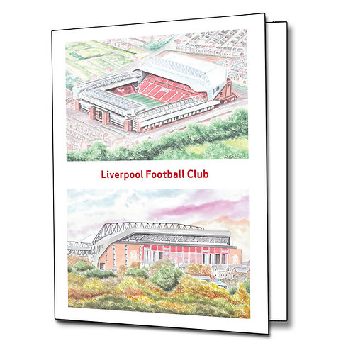 Liverpool - Anfield two view - Greetings Card Portrait, A5/A6