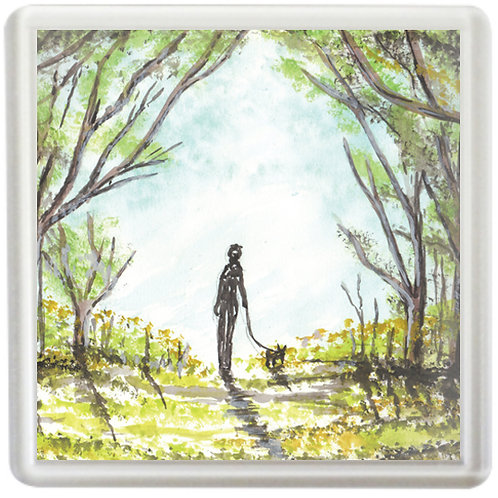 Lady In Woods Walking Dog - Coaster