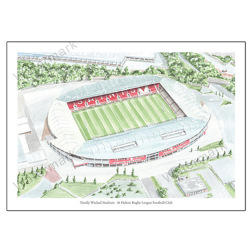 St Helens Rugby League Football Club - Totally Wicked Stadium Print A4 / A