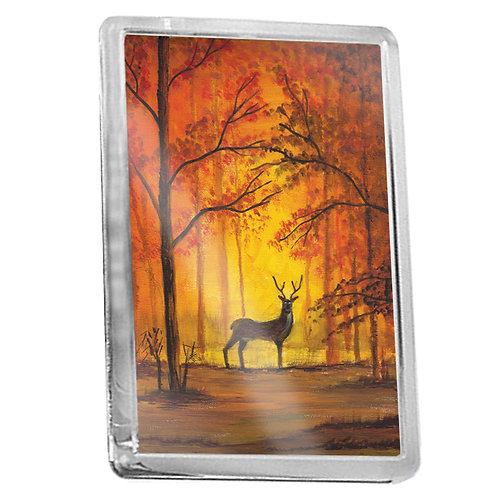 Deer In Autumn Forest - Fridge Magnet