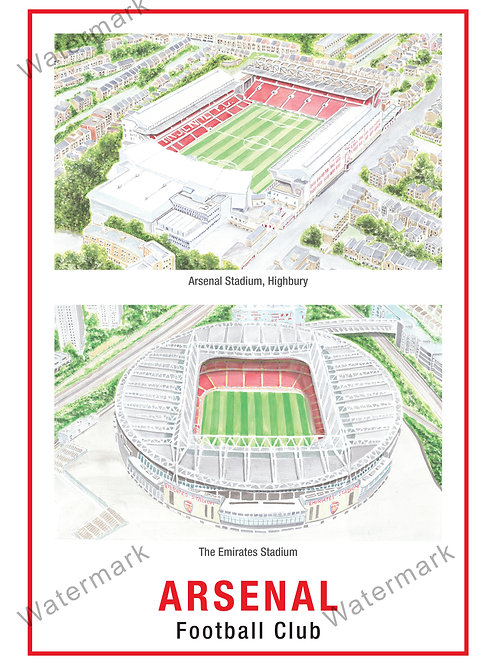 Arsenal - Stadiums, Limited Edition Print A4 / A3