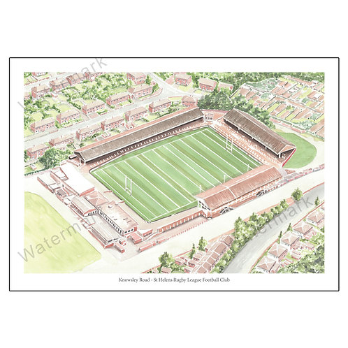 St Helens Rugby League Football Club - Knowsley Road Poster Print A4 / A3