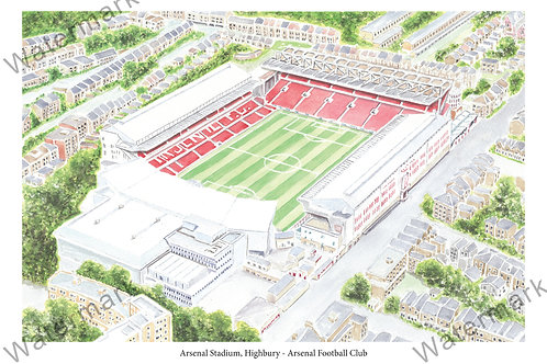 Arsenal - Arsenal Stadium, Highbury, Limited Edition Print A4 / A3