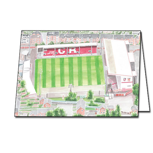 Gloucester Rugby Club - Kingsholm Aerial View - Greetings Card A5/A6