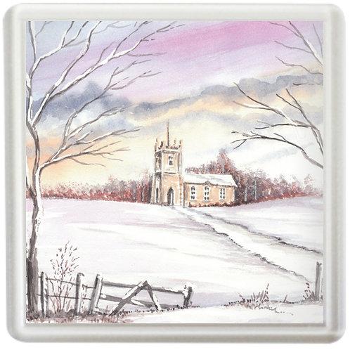 Wintry Church - Coaster